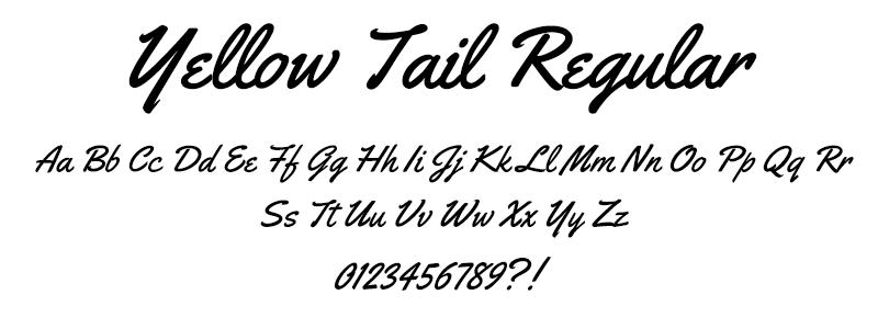 Hand: Yellowtail Regular font